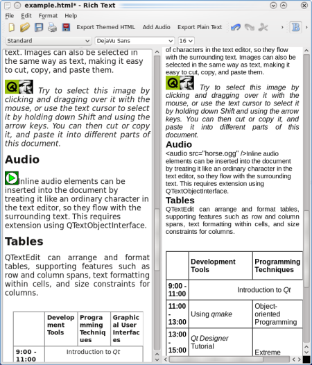 "QTextEdit on the left and QWebKit ""exported\"" version on the right."